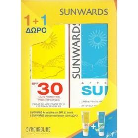 SYNCHROLINE SUNWARDS FACE CREAM SPF30 FOR SENSITIVE SKIN 50ML+ AFTER SUN FACE CREAM 50ML