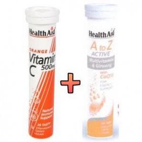 HEALTH AID A to Z ACTIVE + VITAMIN C 500MG ORANGE