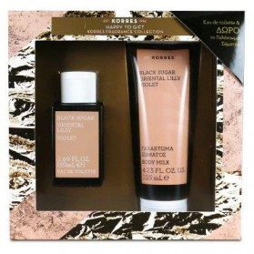 KORRES GIFT SET BLACK SUGAR ORIEANTAL LILLY VIOLET EAU DE TOILETE & BODY MILK