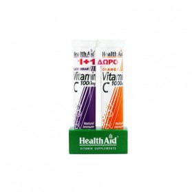 Health Aid Vitamin C 1000mg Φραγκοστάφυλο + 1000mg Πορτοκάλι 2 x 20 αναβράζοντα δισκία