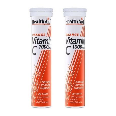 Health Aid Vitamin C 1000mg 2x 20 αναβράζοντα δισκία Πορτοκάλι