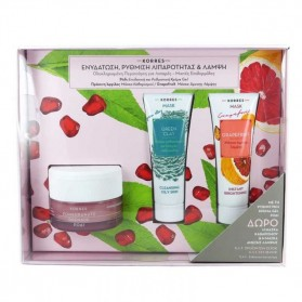 Korres Set Gel Cream with Pomegranate for Oily / Mixed Skins 40ml, Green Clay Mask 18ml & Grapefruit Mask 18ml