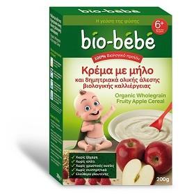 Bio-Bebe Κρέμα με Μήλο & Δημητριακά Ολικής Άλεσης 200gr Cereals