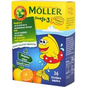 Moller's Omega 3 για Παιδιά 36 ζελεδάκια Πορτοκάλι Λεμόνι