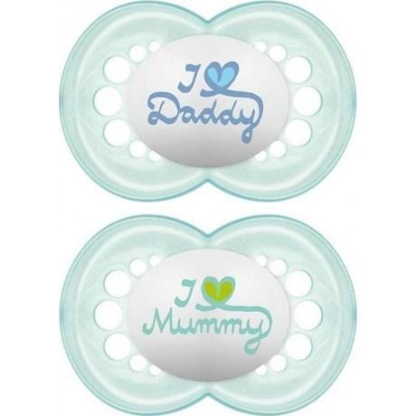 Mam πιπίλες i love my mummy/daddy x2 σιλικόνη 0-6